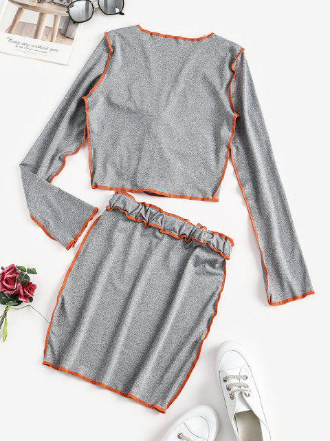 outfit Neon Stitching Tie Front Two Piece Dress - BATTLESHIP GRAY S Mobile