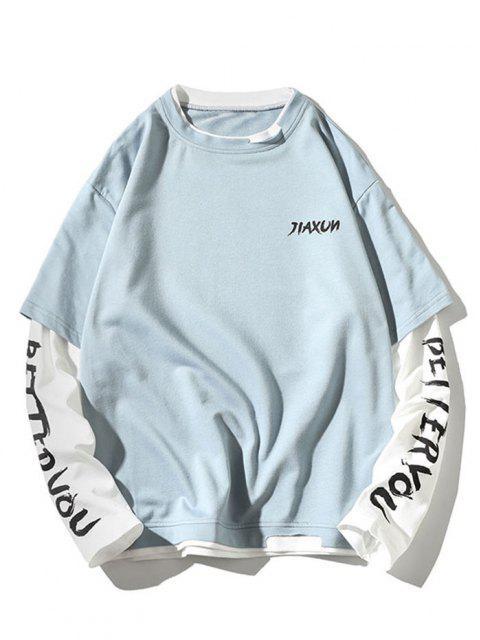 fancy Letter Print Faux Twinset Sweatshirt - SKY BLUE XL Mobile