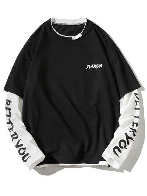 fancy Letter Print Faux Twinset Sweatshirt - BLACK M Mobile