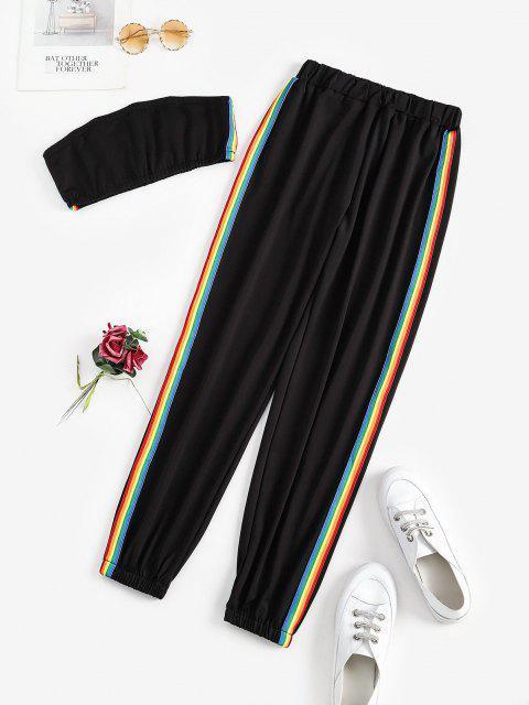 Zweiteiliges Regenbogen Streifen Bandeau Top Set - Schwarz M Mobile