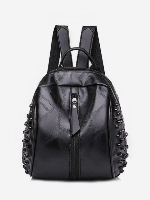 new Rivet Quilted Solid PU Backpack - BLACK  Mobile