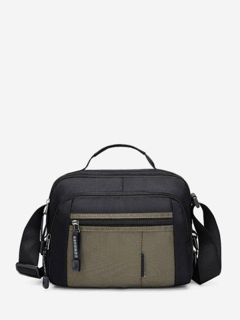 online Contrast Color Canvas Crossbody Bag - DEEP GREEN  Mobile