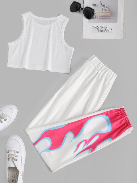 trendy Flame Print Sleeveless Pocket Sport Pants Set - WHITE L Mobile