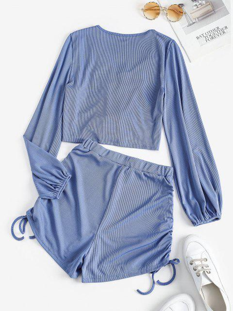 womens Ribbed Cinched Cropped Two Piece Set - BLUE S Mobile