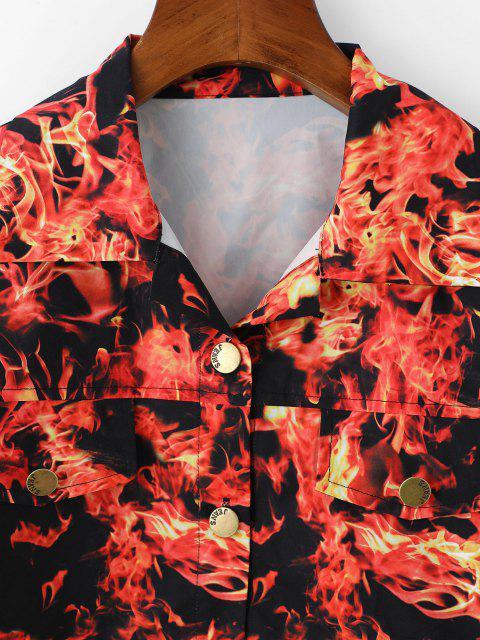 fashion Flame Pattern Flap Detail Short Jacket - RED XL Mobile