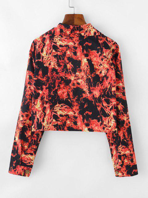 Flame Pattern Flap Detail Short Jacket - أحمر XL Mobile
