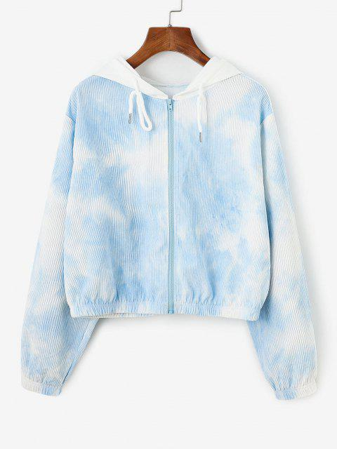 women Corduroy Tie Dye Hooded Drop Shoulder Jacket - LIGHT BLUE M Mobile