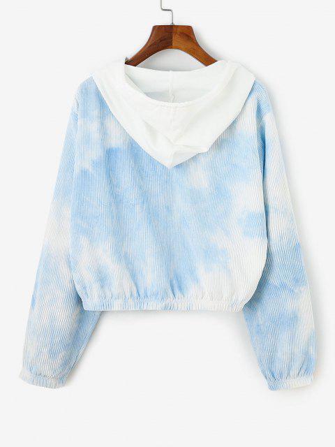 unique Corduroy Tie Dye Hooded Drop Shoulder Jacket - LIGHT BLUE L Mobile