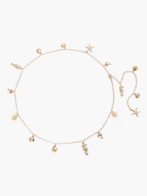 shop Shells Starfish Shape Pendant Waist Chain - GOLDEN  Mobile