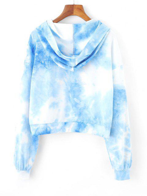 ZAFUL Tie Dye Letter Drop Shoulder Zipper Hoodie - أزرق فاتح XL Mobile