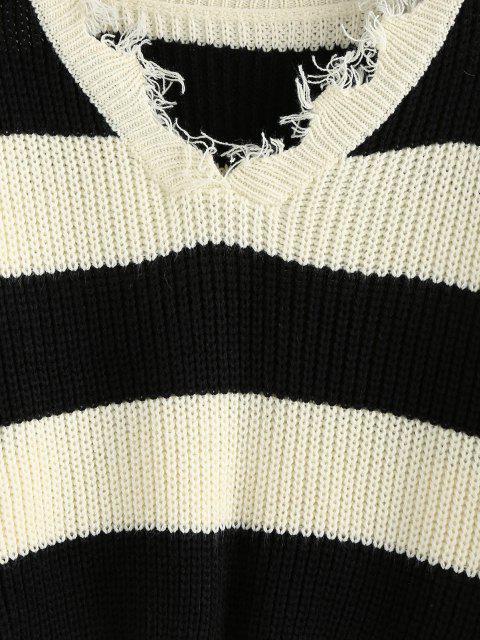 ZAFUL Camisola de Ombro Desgastado Listras - Multi M Mobile