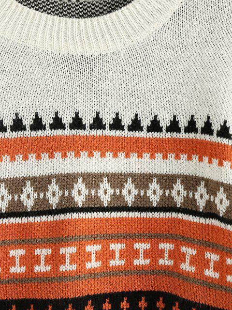ZAFUL Geometrischer Crop Pullover - Weiß L Mobile