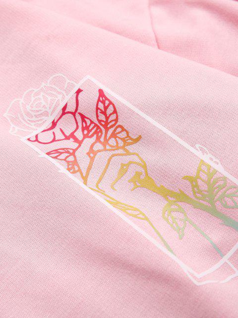 Sweat à Capuche Motif de Rose et de Main avec Poche Kangourou - Rose clair XL Mobile
