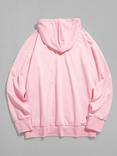 trendy Rose Flower On Hand Pattern Kangaroo Pocket Hoodie - LIGHT PINK 2XL Mobile