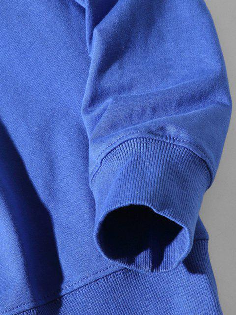 Buchstabe Geometrischer Druck Hängender Schulter Sweatshirt - Blaubeere 3XL Mobile