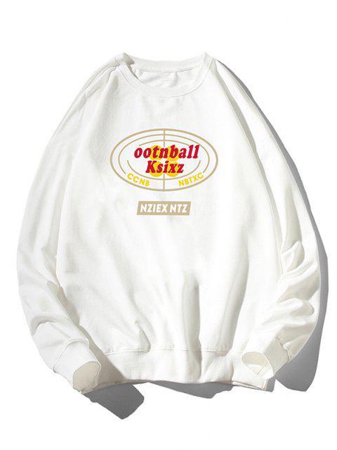 Sweat-shirt Géométrique Lettre Imprimée à Goutte Epaule - Blanc 4XL Mobile