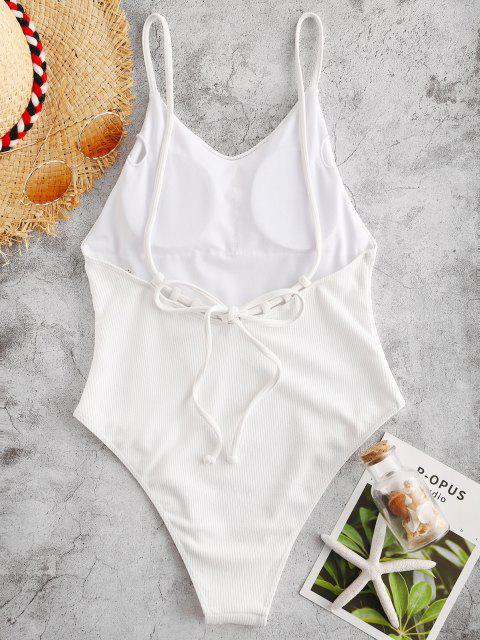 outfits ZAFUL Ribbed Backless Cami Swimsuit - WHITE M Mobile