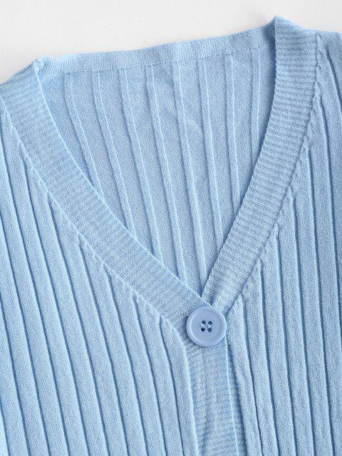 trendy Wide Rib Knit Slim Cardigan - LIGHT BLUE ONE SIZE Mobile