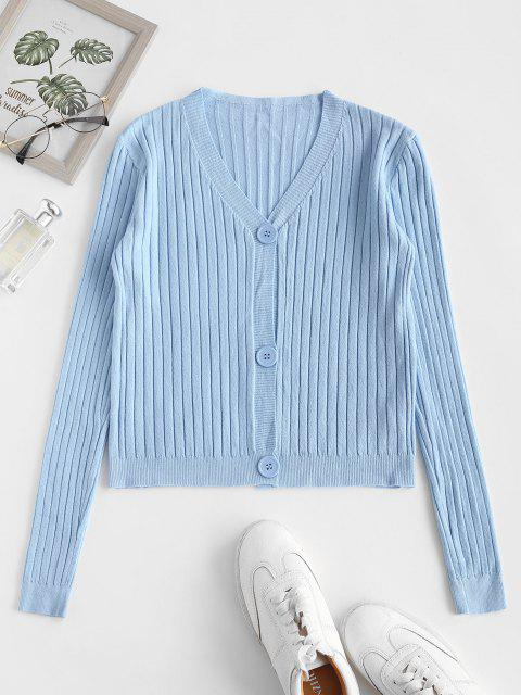 trendy Wide Rib Knit Slim Cardigan - LIGHT BLUE ONE SIZE Mobile