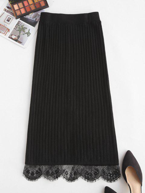 affordable Lace Hem Wide Rib Slit Pencil Skirt - BLACK ONE SIZE Mobile
