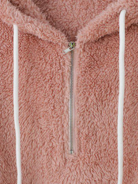 outfit ZAFUL Two Tone Plush Half Zip Drop Shoulder Hoodie - PINK M Mobile