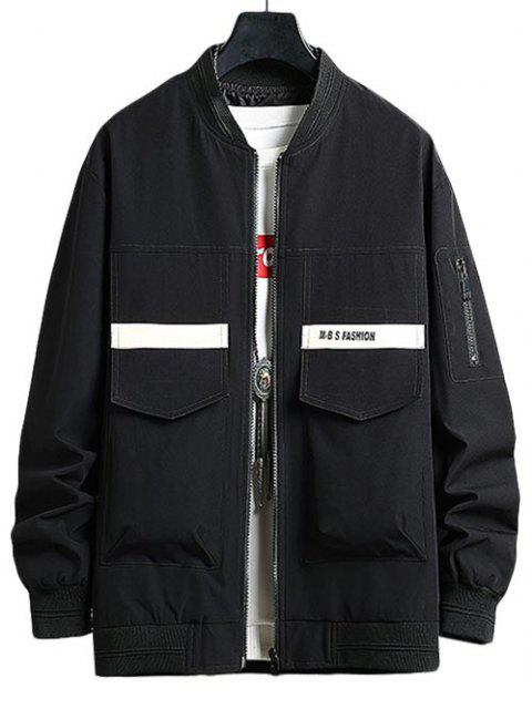 online Letter Print Double Pockets Jacket - BLACK M Mobile