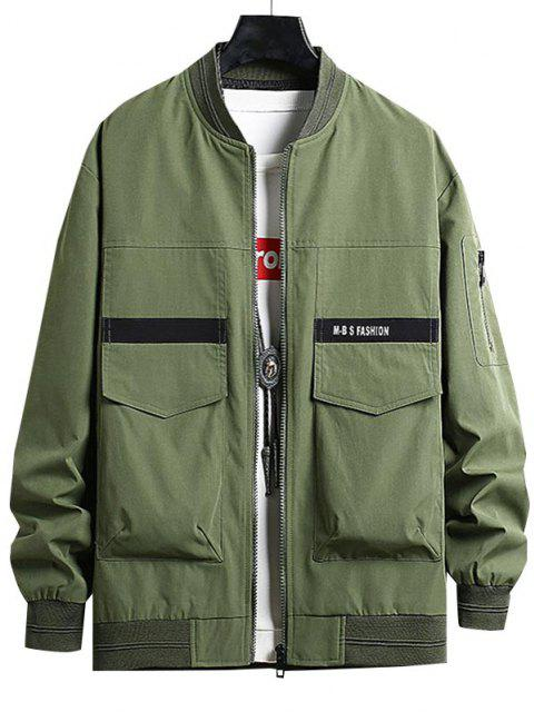 online Letter Print Double Pockets Jacket - ARMY GREEN XS Mobile