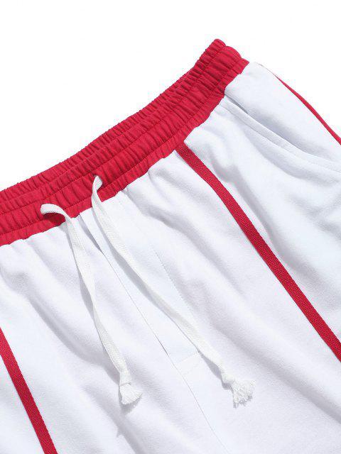 Pantalones de Estampado de Letras de Dos Tonos - Blanco XL Mobile
