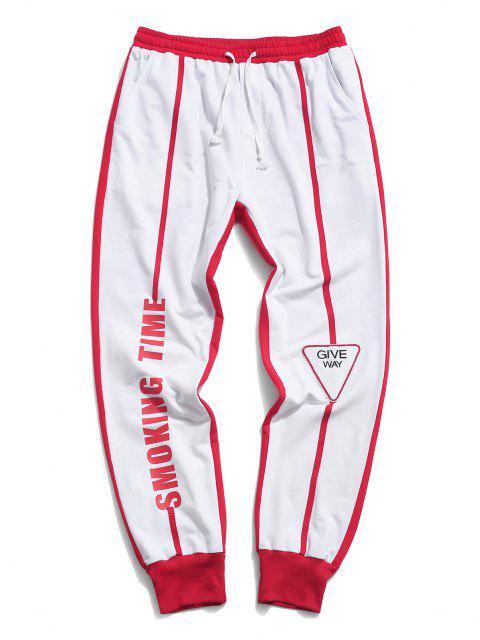 latest Two Tone Smoking Time Letter Print Pants - WHITE 2XL Mobile