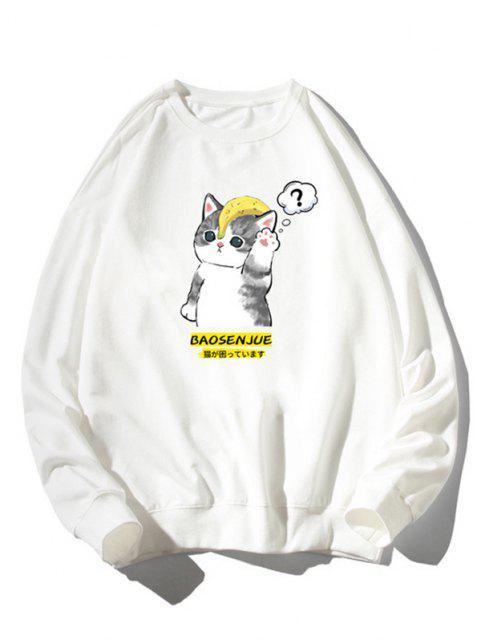 Camisola Moletom Zíper de Malha com Impressão Gráfica de Gato dos Desenhos Animados - Branco XL Mobile