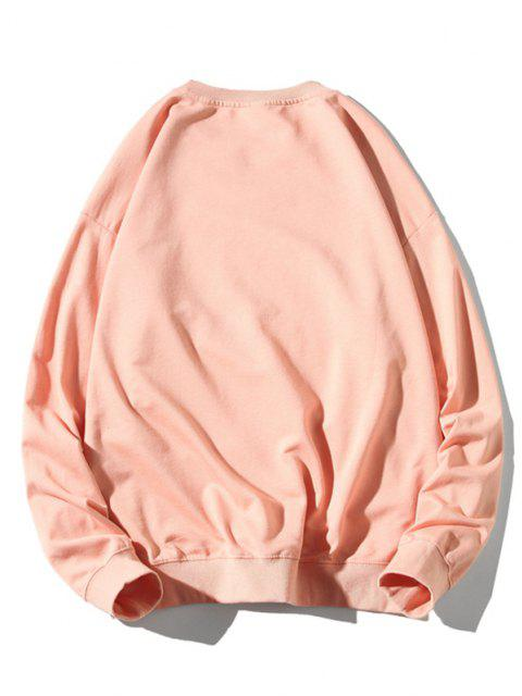 womens Cartoon Cat Print Rib-knit Trim Graphic Sweatshirt - LIGHT PINK 3XL Mobile