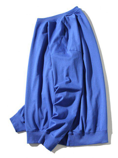 sale Cartoon Cat Print Rib-knit Trim Graphic Sweatshirt - BLUE 3XL Mobile