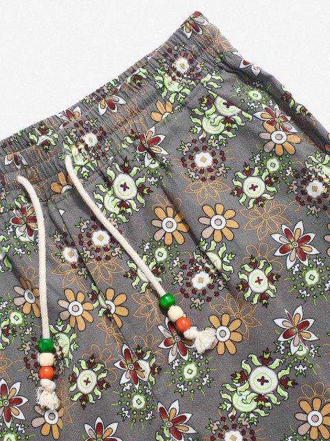 ZAFUL Pantalones de Estampado Floral de Cintura Alta - Gris L Mobile