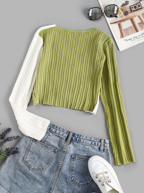 Kreuzer und Querer Gerippter Zweifarbiger Pullover - Hellgrün Eine Größe Mobile