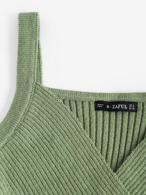 fashion Surplice Ribbed Sweater Dress - LIGHT GREEN ONE SIZE Mobile