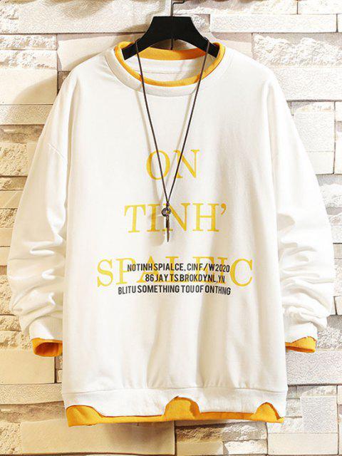 online Letter Print Colorblock Hem Drop Shoulder Sweatshirt - WHITE 2XL Mobile