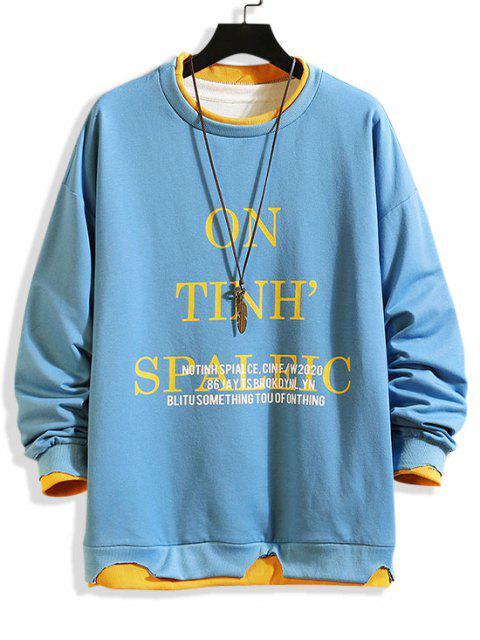 women Letter Print Colorblock Hem Drop Shoulder Sweatshirt - CORNFLOWER BLUE M Mobile