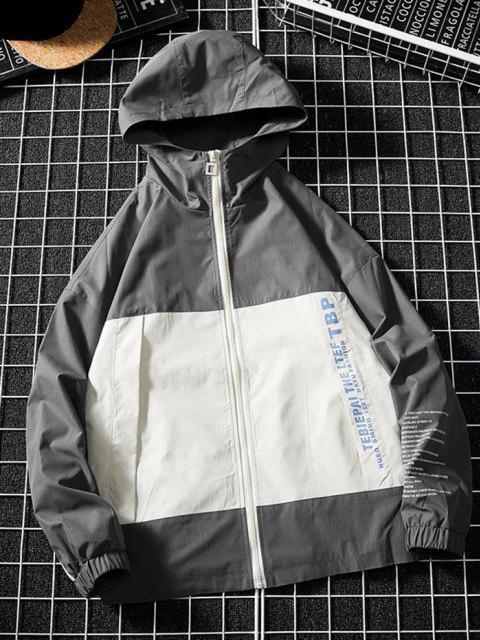 shop Two Tone Letter Text Drop Shoulder Hooded Jacket - DARK GRAY S Mobile