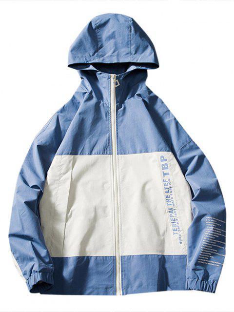 Veste à Capuche Lettre Bicolore à Goutte Epaule - Bleu Océan XS Mobile