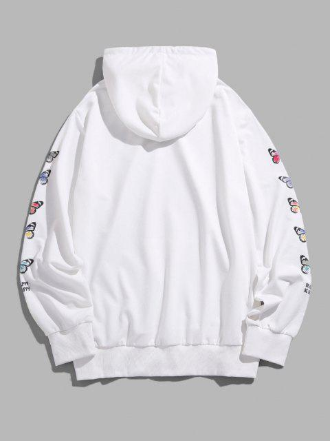 trendy ZAFUL Enjoy Your Life Butterfly Print Hoodie - WHITE 2XL Mobile