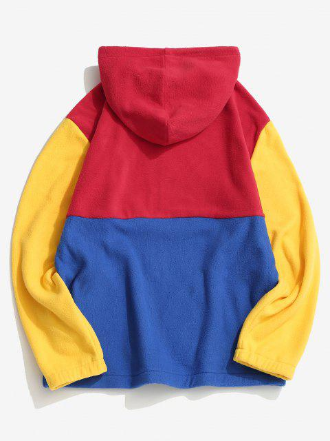 hot Colorblock Panel Fleece Hooded Jacket - RED XL Mobile