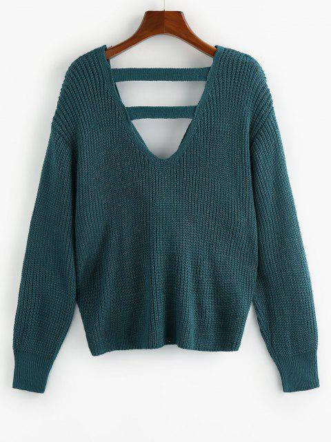 chic ZAFUL Twisted Drop Shoulder Ladder Cut Sweater - DEEP GREEN S Mobile