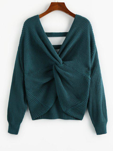 sale ZAFUL Twisted Drop Shoulder Ladder Cut Sweater - DEEP GREEN L Mobile