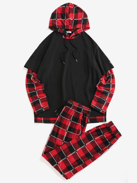 lady ZAFUL Plaid Pattern Faux Twinset Hoodie and Pants Set - BLACK 2XL Mobile