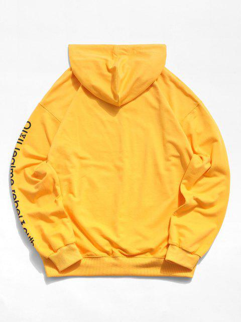trendy Love is A Drug And Rose Pattern Hoodie - YELLOW XL Mobile