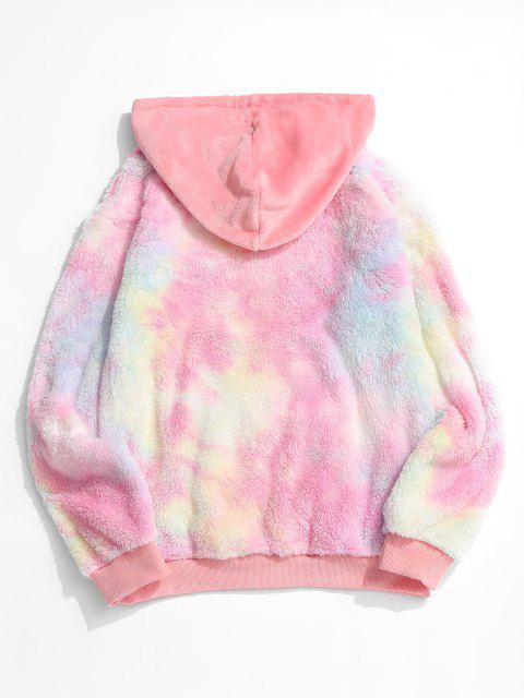 Fluffy Tie Dye Hoodie - Hell-Pink L Mobile