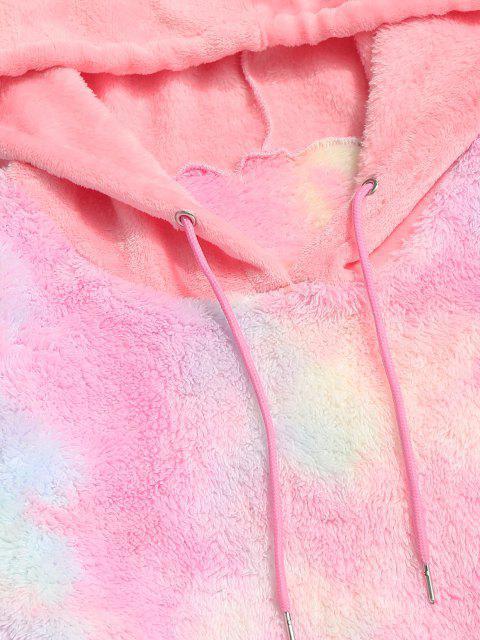 women Fluffy Tie Dye Hoodie - LIGHT PINK 2XL Mobile
