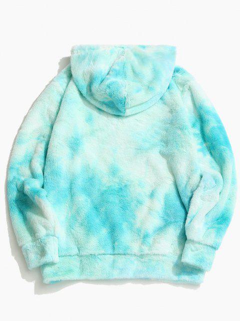 Tie Dye Faux Fur Ring Half Zipper Hoodie - روبن البيض الأزرق M Mobile