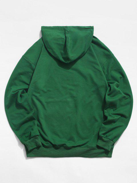 affordable Moon Change Just A Phase Pattern Hoodie - DEEP GREEN S Mobile