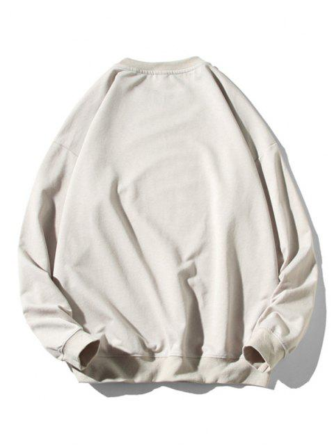 fashion Cartoon Cat Fish Print Rib-knit Trim Sweatshirt - LIGHT GRAY M Mobile